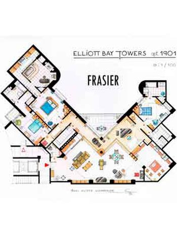 Plano de la casa de Elliot Bay Towers, Frasier.