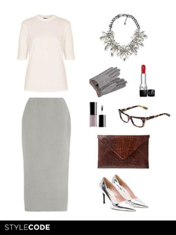 Look working girl en gris
