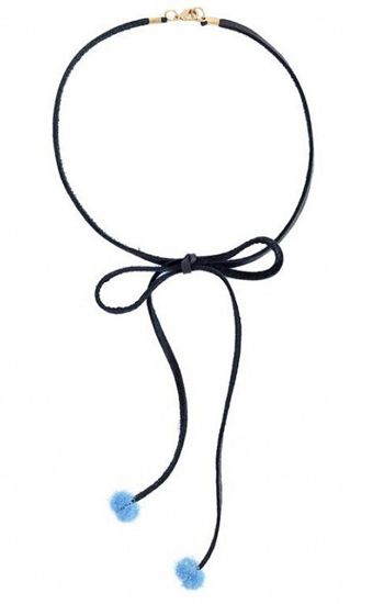 Leather Bow-Tie Puff Ball Choker