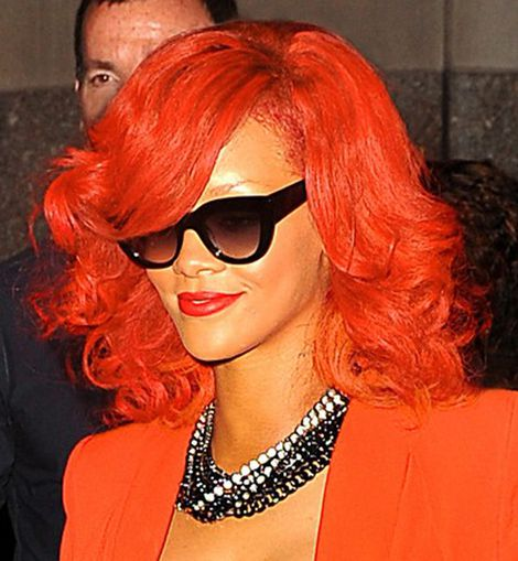 Rihanna, lady in red