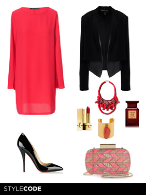 Look de color rojo